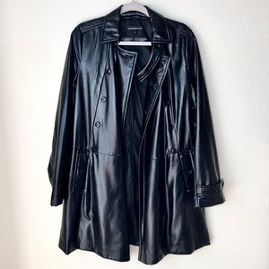 Club Monaco. Black double breasted long jacket.